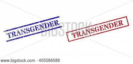 Grunge Transgender Rubber Stamps In Red And Blue Colors. Stamps Have Draft Style. Vector Rubber Imit