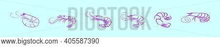 Set Of Prawns Cartoon Icon Design Template With Various Models. Modern Vector Illustration Isolated