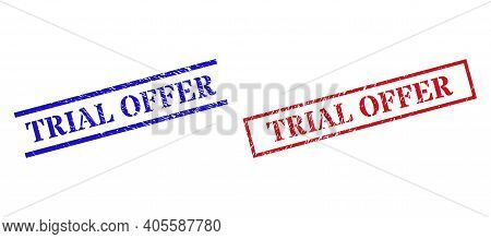 Grunge Trial Offer Rubber Stamps In Red And Blue Colors. Seals Have Rubber Surface. Vector Rubber Im