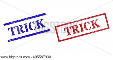 Grunge Trick Rubber Stamps In Red And Blue Colors. Stamps Have Distress Texture. Vector Rubber Imita