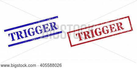 Grunge Trigger Rubber Stamps In Red And Blue Colors. Stamps Have Distress Surface. Vector Rubber Imi