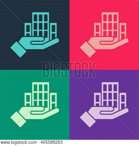 Pop Art Skyscraper Icon Isolated On Color Background. Metropolis Architecture Panoramic Landscape. V