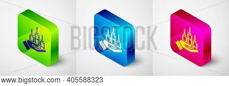 Isometric Skyscraper Icon Isolated On Grey Background. Metropolis Architecture Panoramic Landscape.