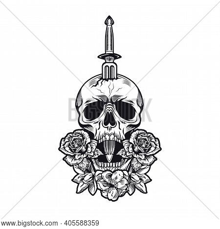 Retro Dagger And Roses Tattoo Design. Monochrome Element With Flowers, Skull Pierced With Knife Vect