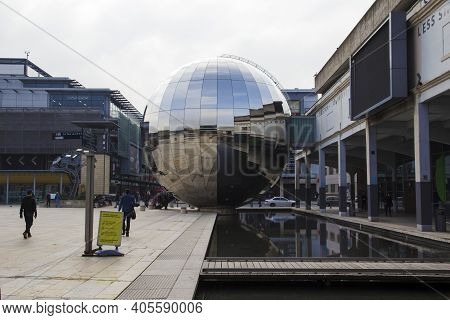 Bristol, Uk - April 8, 2019. Reflective Chrome Sphere Of The Cinema Of We The Curious, Home Of The U
