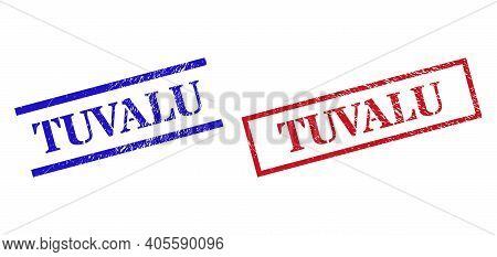 Grunge Tuvalu Rubber Stamps In Red And Blue Colors. Stamps Have Rubber Surface. Vector Rubber Imitat