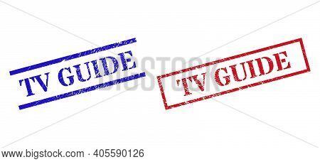 Grunge Tv Guide Rubber Stamps In Red And Blue Colors. Stamps Have Draft Texture. Vector Rubber Imita