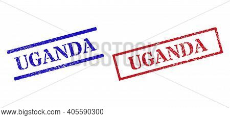Grunge Uganda Seal Stamps In Red And Blue Colors. Stamps Have Rubber Texture. Vector Rubber Imitatio
