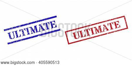 Grunge Ultimate Rubber Stamps In Red And Blue Colors. Stamps Have Rubber Style. Vector Rubber Imitat