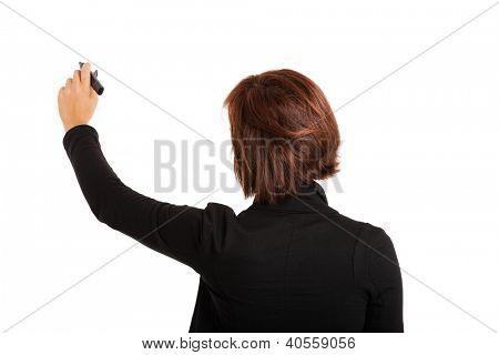 Businesswoman writing on white copyspace