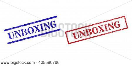 Grunge Unboxing Seal Stamps In Red And Blue Colors. Stamps Have Rubber Style. Vector Rubber Imitatio