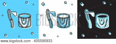 Set Wooden Axe In Stump Icon Isolated On Blue And White, Black Background. Lumberjack Axe. Axe Stuck