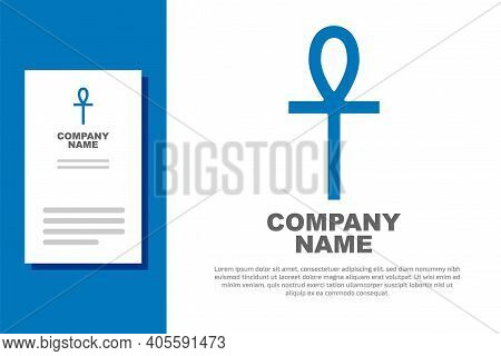 Blue Cross Ankh Icon Isolated On White Background. Logo Design Template Element. Vector