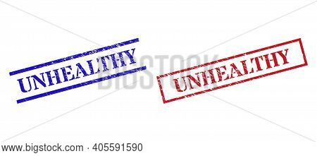 Grunge Unhealthy Rubber Stamps In Red And Blue Colors. Stamps Have Rubber Style. Vector Rubber Imita