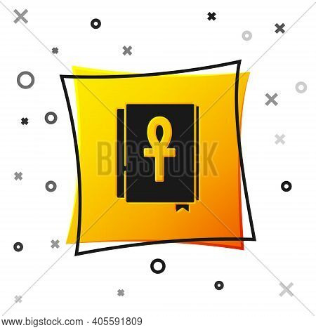 Black Cross Ankh Book Icon Isolated On White Background. Yellow Square Button. Vector
