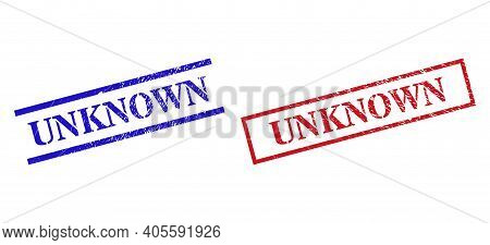 Grunge Unknown Stamp Seals In Red And Blue Colors. Stamps Have Rubber Style. Vector Rubber Imitation
