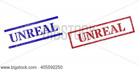 Grunge Unreal Rubber Stamps In Red And Blue Colors. Seals Have Rubber Style. Vector Rubber Imitation