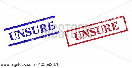 Grunge Unsure Rubber Stamps In Red And Blue Colors. Seals Have Rubber Style. Vector Rubber Imitation