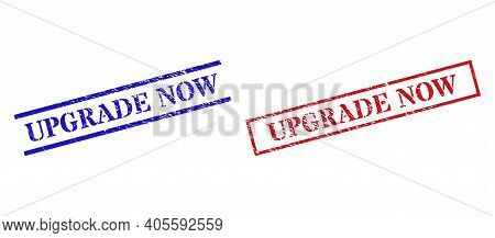Grunge Upgrade Now Rubber Stamps In Red And Blue Colors. Stamps Have Rubber Surface. Vector Rubber I