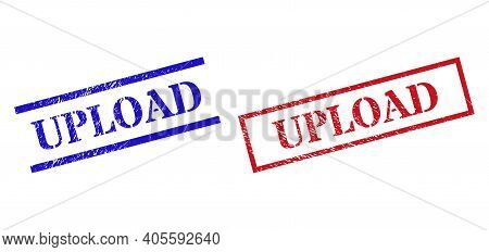 Grunge Upload Rubber Stamps In Red And Blue Colors. Seals Have Rubber Style. Vector Rubber Imitation