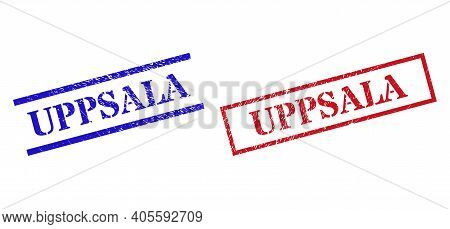 Grunge Uppsala Rubber Stamps In Red And Blue Colors. Stamps Have Rubber Style. Vector Rubber Imitati