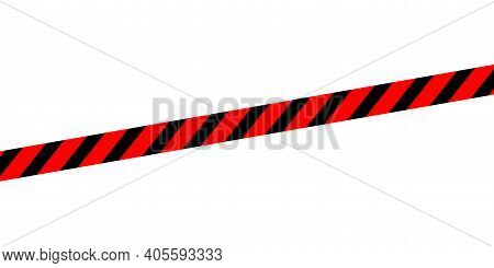 Red Black Caution Tape Line Isolated On White For Banner Background, Tape Red Black Stripe Pattern,