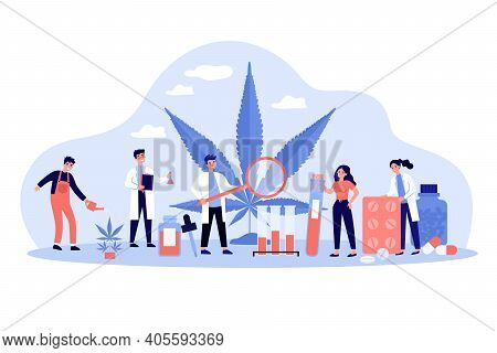 Scientists Studying Drugs With Cannabis. Pharmacists Making Meds With Hemp, Using Weed For Pharmaceu