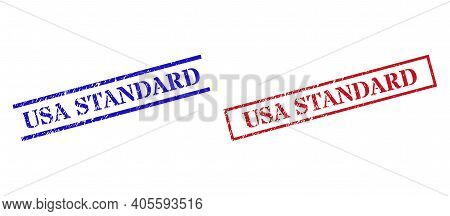 Grunge Usa Standard Stamp Seals In Red And Blue Colors. Stamps Have Rubber Style. Vector Rubber Imit
