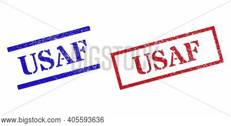 Grunge Usaf Rubber Stamps In Red And Blue Colors. Stamps Have Rubber Texture. Vector Rubber Imitatio