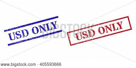 Grunge Usd Only Stamp Seals In Red And Blue Colors. Seals Have Rubber Style. Vector Rubber Imitation