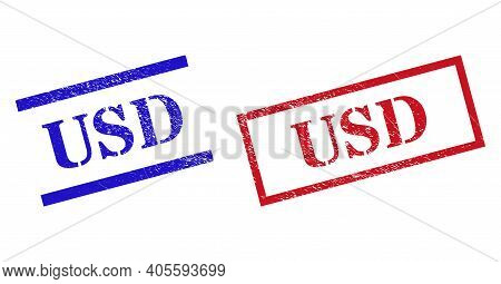 Grunge Usd Stamp Seals In Red And Blue Colors. Seals Have Rubber Style. Vector Rubber Imitations Wit