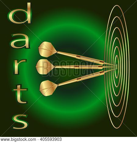 Vector Illustration On A Green Background Three Gold Darts In The Center Of The Target With The Insc