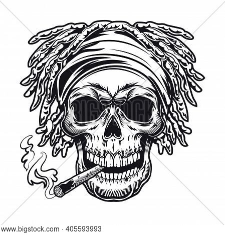 Rastaman Symbol Design. Monochrome Element With Skull With Dreads And Joint Vector Illustration With