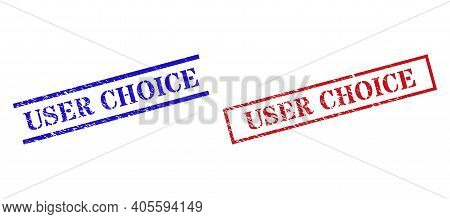 Grunge User Choice Seal Stamps In Red And Blue Colors. Stamps Have Rubber Texture. Vector Rubber Imi