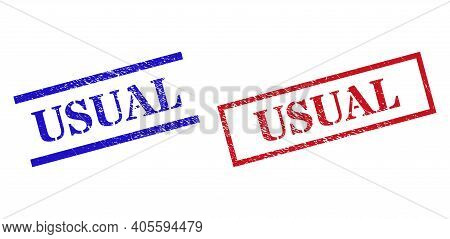 Grunge Usual Rubber Stamps In Red And Blue Colors. Stamps Have Distress Style. Vector Rubber Imitati