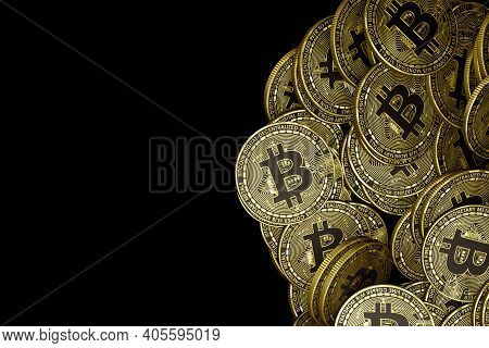 Golden Bitcoin Isolated Bitcoin Btc Cryptocurrency Coins. Stock Market Concept. Business Concept. 3D