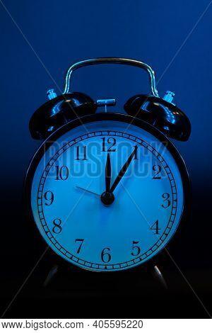 Alarm Clock Close Up On Black Background