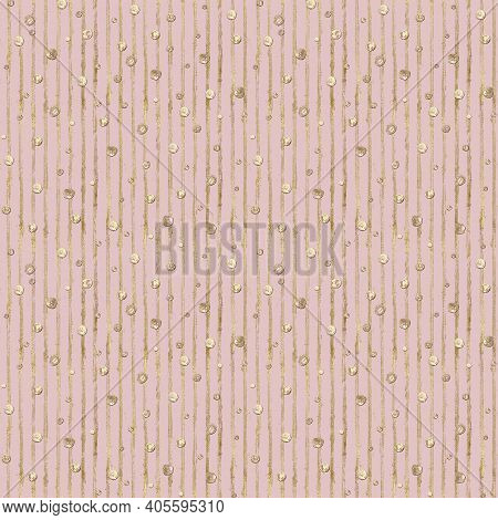 Abstract Seamless Pattern With 3d Golden Glittering Acrylic Paint Polka Dot And Stripes On Pastel Pi