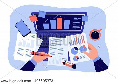 Top Of Office Workplace, Hands Of Accountant Analyzing And Studying Financial Reports On Documents,