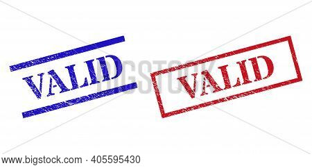 Grunge Valid Rubber Stamps In Red And Blue Colors. Seals Have Rubber Texture. Vector Rubber Imitatio