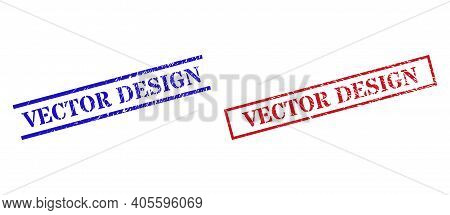 Grunge Vector Design Rubber Stamps In Red And Blue Colors. Stamps Have Rubber Texture. Vector Rubber