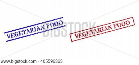 Grunge Vegetarian Food Rubber Stamps In Red And Blue Colors. Seals Have Distress Texture. Vector Rub