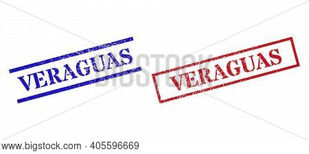 Grunge Veraguas Rubber Stamps In Red And Blue Colors. Seals Have Rubber Style. Vector Rubber Imitati