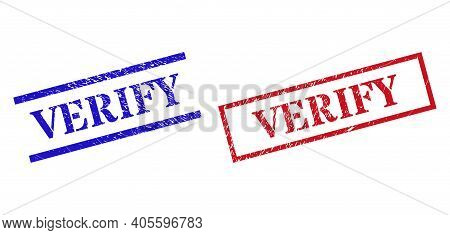 Grunge Verify Seal Stamps In Red And Blue Colors. Stamps Have Rubber Surface. Vector Rubber Imitatio