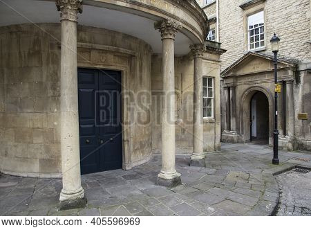 Bath, Uk - April 10, 2019. Historic Architecture Of The Entrance To The Hospital Of St John The Bapt