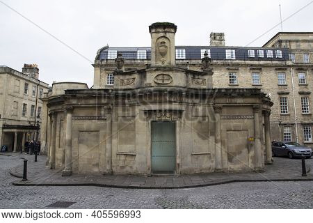 Bath, Uk - April 10, 2019. Historic Architecture Of The Entrance To The Cross Baths. Bath, England,