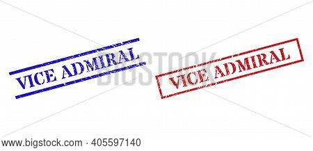 Grunge Vice Admiral Rubber Stamps In Red And Blue Colors. Stamps Have Rubber Style. Vector Rubber Im