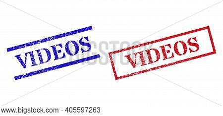 Grunge Videos Rubber Stamps In Red And Blue Colors. Stamps Have Rubber Style. Vector Rubber Imitatio