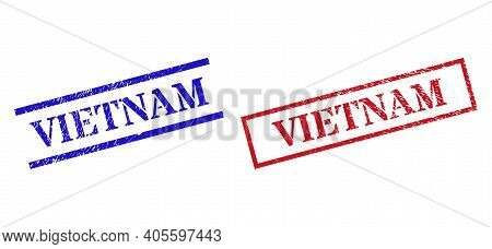 Grunge Vietnam Rubber Stamps In Red And Blue Colors. Seals Have Rubber Surface. Vector Rubber Imitat