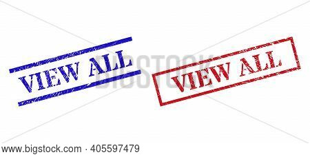 Grunge View All Rubber Stamps In Red And Blue Colors. Stamps Have Rubber Style. Vector Rubber Imitat